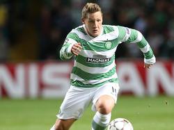 Celtic-Angerifer Kris Commons in Aktion beim CL-Qualifikationsspiel gegen Maribor. (27.08.2014)