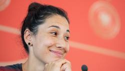 Sara Doorsoun bei der Pressekonferenz am Freitag