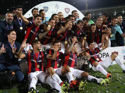 San Lorenzo celebró el título de la Supercopa por todo lo alto. (Foto: Imago)