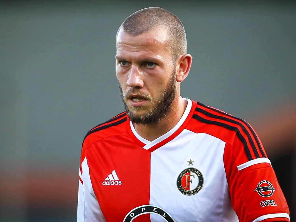 John Goossens in actie tijdens Jong Feyenoord/Excelsior - Jong VVV-Venlo/Helmond Sport. (11-8-2014)