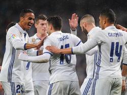 Los jugadores del Madrid celebran el gol de Kovacic. (Foto: Getty)