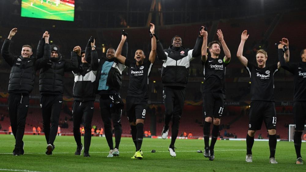 Eintracht Frankfurt feiert den Sieg in London