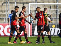 Eintracht Frankfurt jubelt über einen knappen Sieg gegen 1860 München