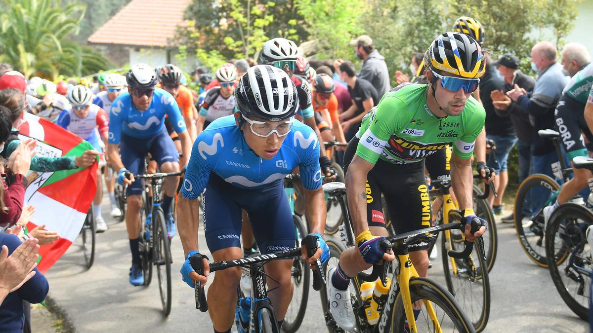 Primoz Roglic (r) gewann die Baskenland-Rundfahrt auf der Schlussetappe
