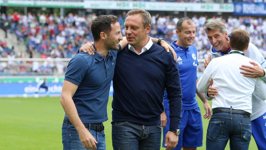 Die HSV-Kandidaten Domenico Tedesco (l.) und André Breitenreiter arbeiteten einst beim FC Schalke 04