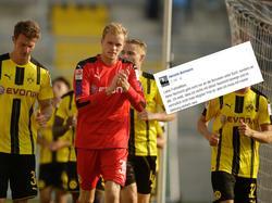 BVB-Keeper Bonmann (rotes Trikot) hat sich verärgert zur Spielabsage geäußert