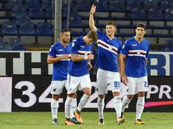 Dawid Kownacki (Nr. 99) knipst aktuell für Sampdoria