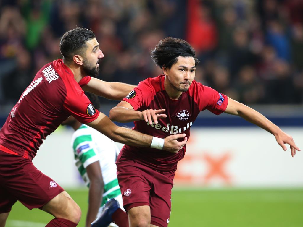 Munas Dabbur (l.) und Takumi Minamino schossen Salzburg zum verdienten Heimsieg gegen Celtic