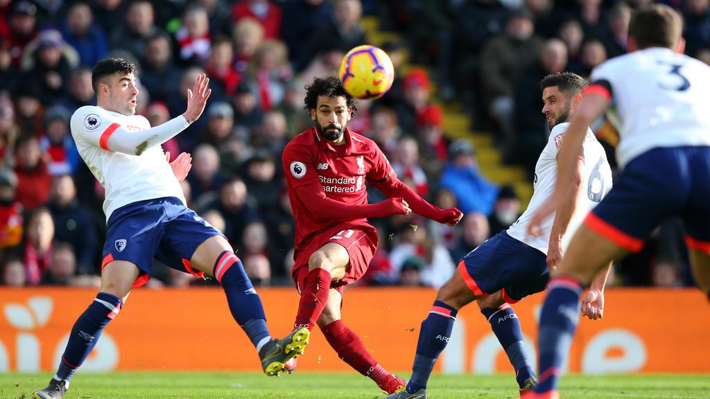 Mohamed Salah (M.) erzielte für Liverpool einen Treffer