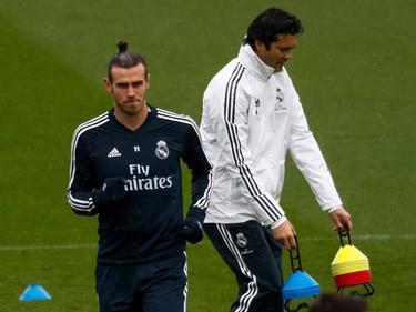 Bale y Solari en la sesión de esta mañana, la primera del argentino. (Foto: Imago)