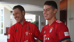 Niko Kovac hat sich zur Situation von James Rodríguez (r.) beim FC Bayern geäußert
