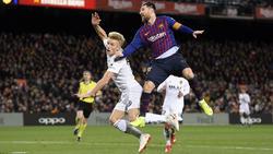 Messi en un duelo contra el Valencia.
