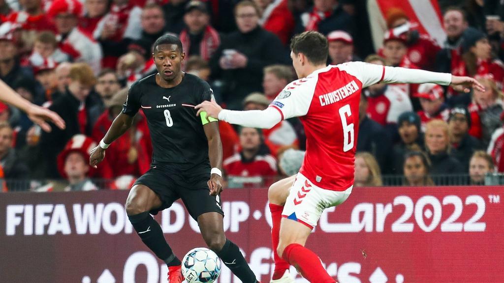 David Alaba (l.) unterlag mit Österreich gegen Dänemark