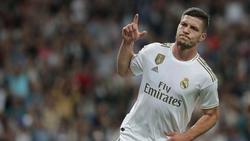 Luka Jović celebra un gol ante Osasuna que luego fue anulado.