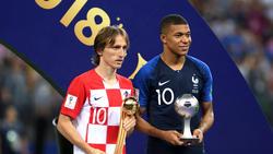 Luka Modric (li.) wurde mit dem Goldenen Ball für den besten Spieler der Fußball-WM ausgezeichnet