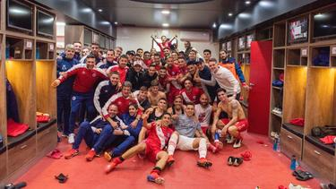 Los jugadores de Argentinos Juniors lo celebraron en el vestuario.