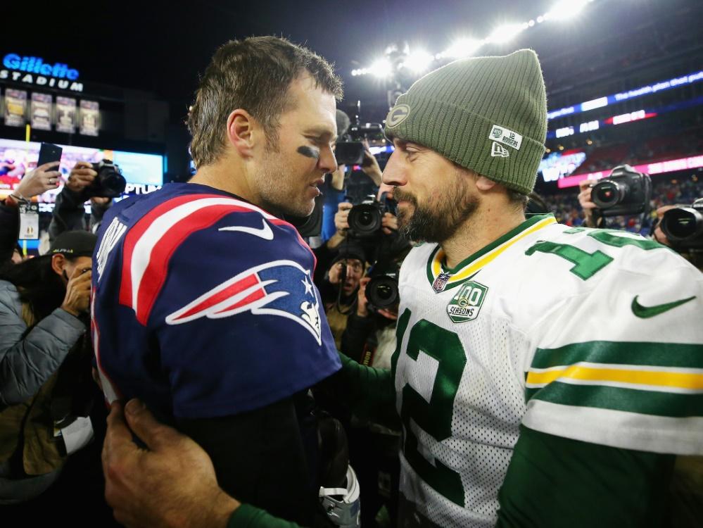 Tom Brady (l.) und Aaron Rodgers wurden ins Team des Jahrzehnts gewählt