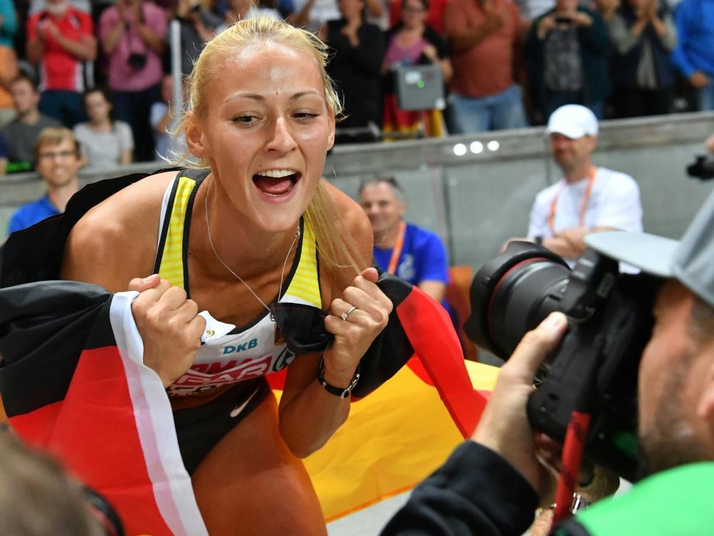 Kristin Gierisch sprang 13,80 m für das Team Europa