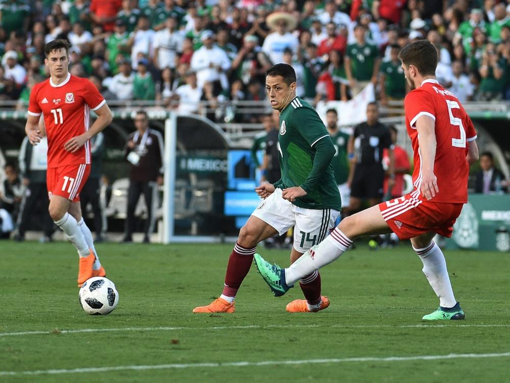 Mexikos Torjäger Chicharito (m.) blieb beim Test gegen Wales ohne Treffer