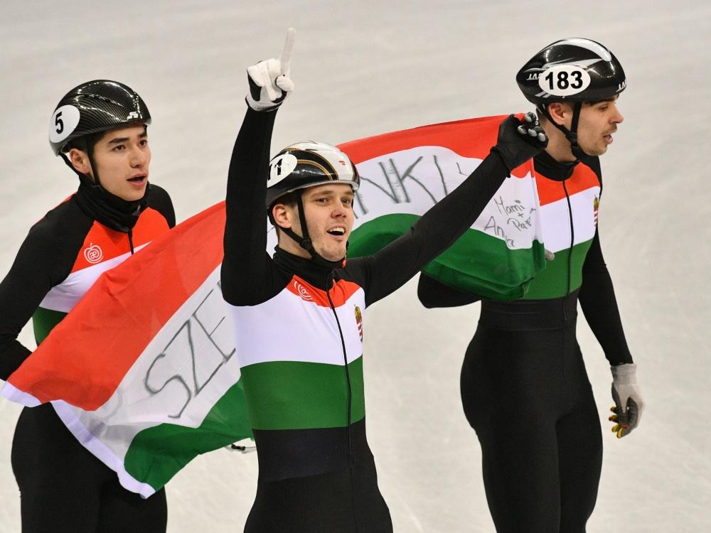 Shorttrack-Staffel-Gold geht an Ungarn