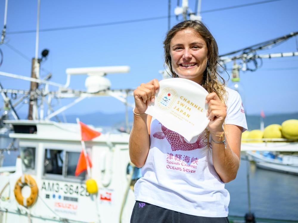 Nathalie Pohl überglücklich nach gemeisterter Strecke