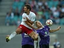 Fehlt Erzgebirge Aue gegen Leipzig: Dorian Diring (r.)