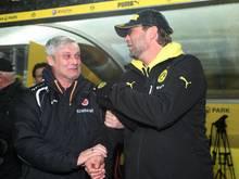 Armin Veh (l.) und BVB-Trainer Jürgen Klopp (r.)