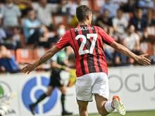 Daniel Maldini erzielt das 1:0 gegen Spezia Calcio