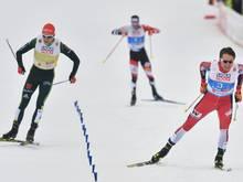 Geiger (l.) und Rießle vepassen Sieg im Teamsprint